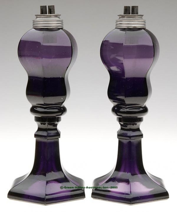 19: PAIR OF PANELED FONT STAND LAMPS, deep brilliant am