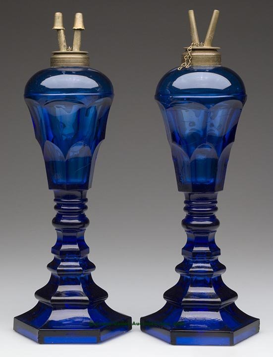 23: PAIR OF ARCH FONT STAND LAMPS, deep brilliant cobal