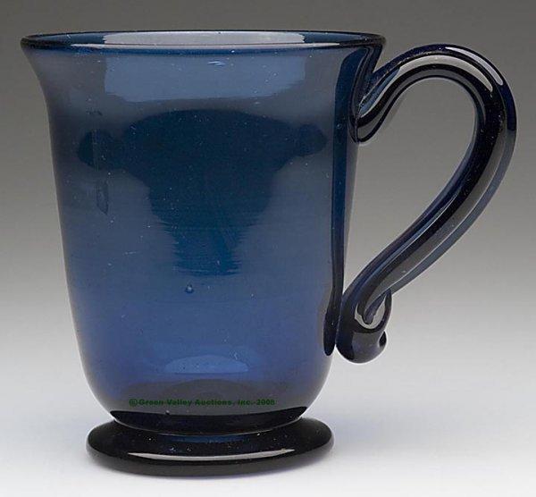 234: FREE-BLOWN FOOTED MUG, cobalt blue, deep bowl with