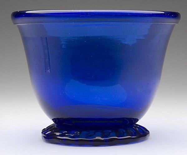 235: FREE-BLOWN FOOTED DEEP BOWL, deep cobalt blue, rim