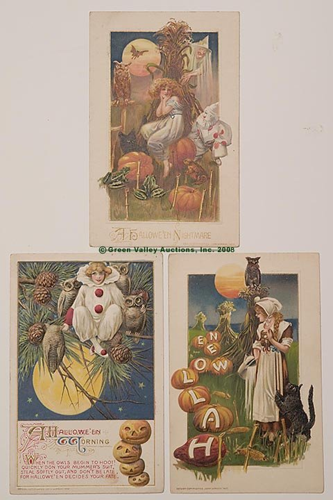 600: WINSCH HALLOWEEN POST CARDS, LOT OF THREE, each wi