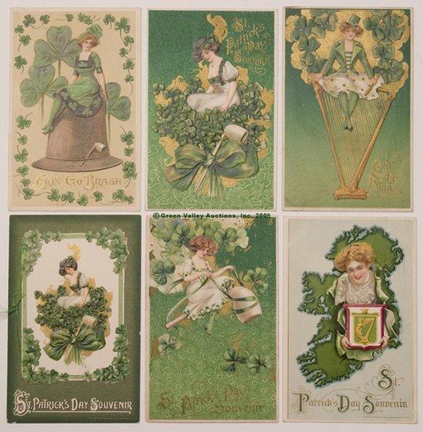 602: WINSCH ST. PATRICK'S DAY POST CARDS, LOT OF SIX, e