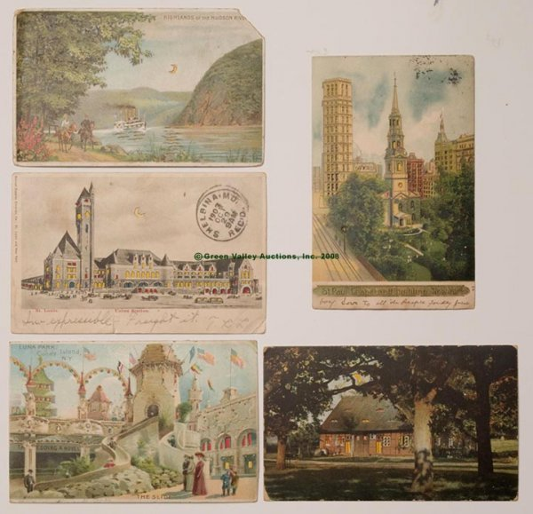 605: HOLD-TO-LIGHT SCENIC POST CARDS, LOT OF FIVE, vari