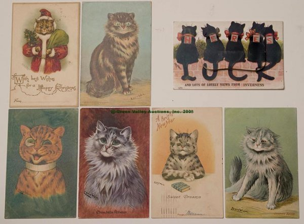 606: LOUIS WAIN CATS POST CARDS, LOT OF SEVEN, various
