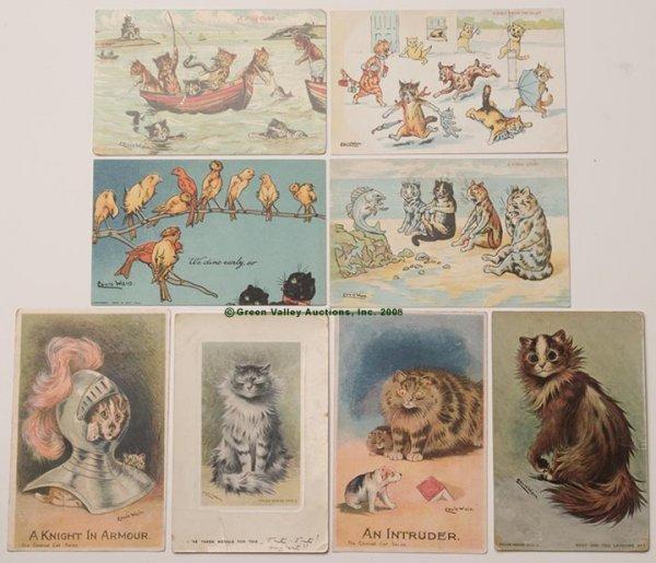 607: LOUIS WAIN CATS POST CARDS, LOT OF EIGHT, various