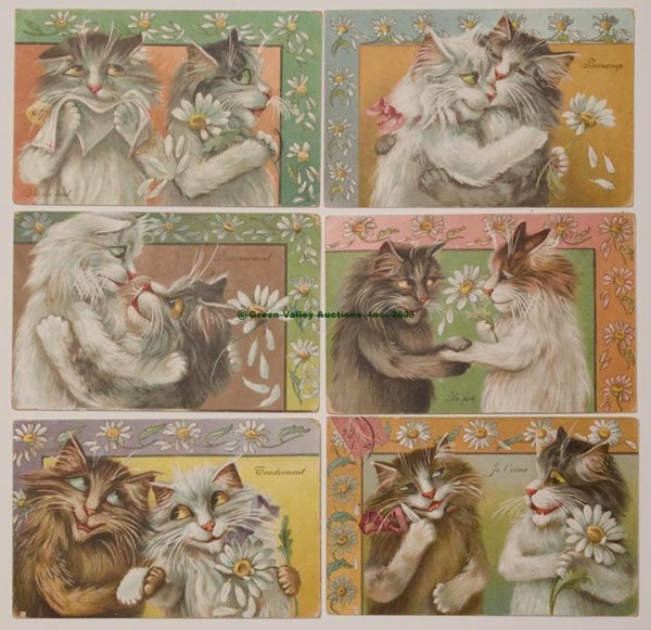 608: MAURICE BOULANGER CAT POST CARDS, LOT OF SIX, E. P