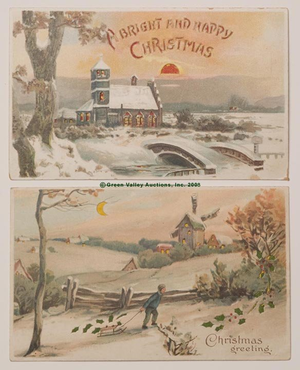 609: HOLD-TO-LIGHT CHRISTMAS POST CARDS, LOT OF TWO, ea