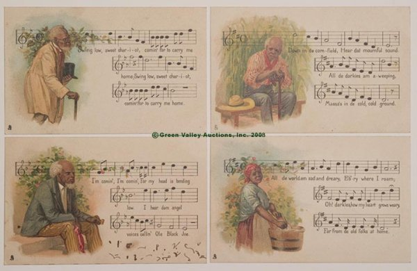 """611: TUCK """"NEGRO MELODIES"""" POST CARDS, LOT OF FOUR, ser"""