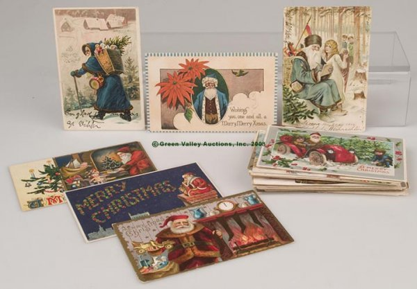 613: SANTA POST CARDS, LOT OF 42, including numerous co