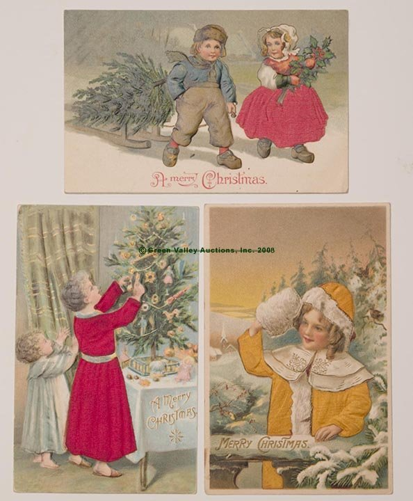 615: CHRISTMAS APPLIED SILK POST CARDS, LOT OF THREE, e