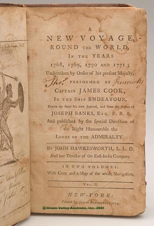 """619: COOK'S NEW WORLD VOYAGE VOLUME, """"A New Voyage, Rou"""