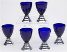 "CHASE ART DECO CHROMIUM ""BLUE MOON"" COCKTAIL CUPS,"