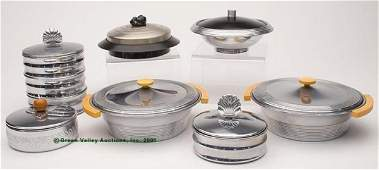 CHASE ART DECO CHROMIUM VARIOUS CONTAINERS, LOT OF