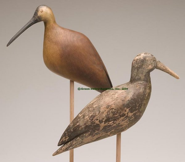 1219: CARVED AND PAINTED SHOREBIRD DECOYS, LOT OF TWO,