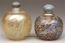 1579 CONTEMPORARY ART GLASS PERFUME BOTTLES LOT OF TW
