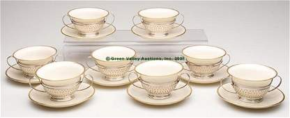 1610 LENOX PORCELAIN AND GORHAM STERLING BOUILLON CUPS