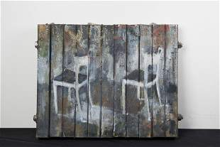 """Gregory Smith; """"Two Chair""""; Canvas on wood; 1991"""