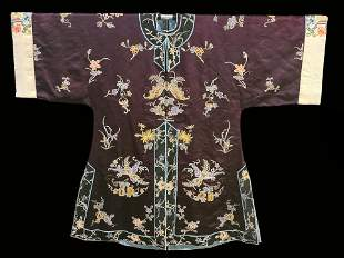 A Chinese silk embroidered silk robe