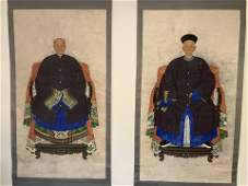 A Pair Chinese Ancestor Painting