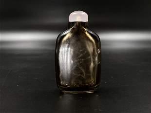 Smokey crystal snuff bottle