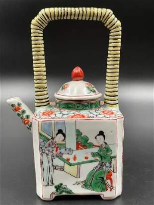 A Chinese Wucai teapot