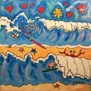 """Kimm Byers """"Surf Contest"""" 2014 Acrylic Signed"""