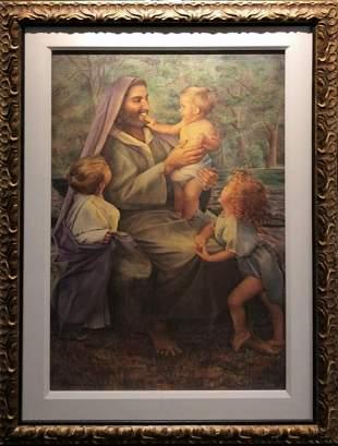 """Elizabeth Linder """"Jesus And The Children"""" Litho Signed"""