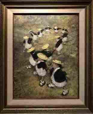 "Leonard Creo ""Twelve Girls Yellow"" Oil on Canvas Signed"