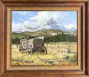 "Robert Wee ""Retired"" 1981 Oil on Masonite Signed"