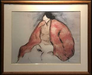 """R.C. Gorman """"Seated Woman"""" Signed Lithograph"""