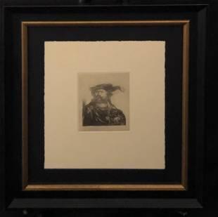 """Rembrandt """"Self Portrait A Velvet Cap With Plumeâ€"""