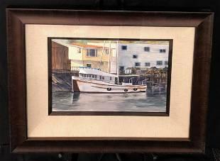 Marvin Gelder Condor Fishing Boat Watercolor Signed