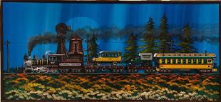 Fred Bonn Train Acrylic Signed