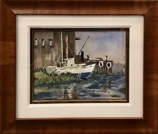 P. Bernson Boat Docked in Harbor Watercolor Signed