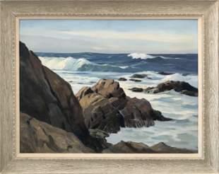 """Joseph Bennett """"Seascape"""" Oil on Canvas Signed"""