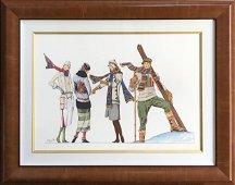 """Marv Brehm """"Ski Time"""" Original Gouache Signed"""