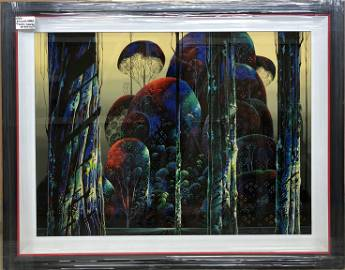 """Eyvind Earle """"Trees Draped in Autumn"""" Signed Serigraph"""