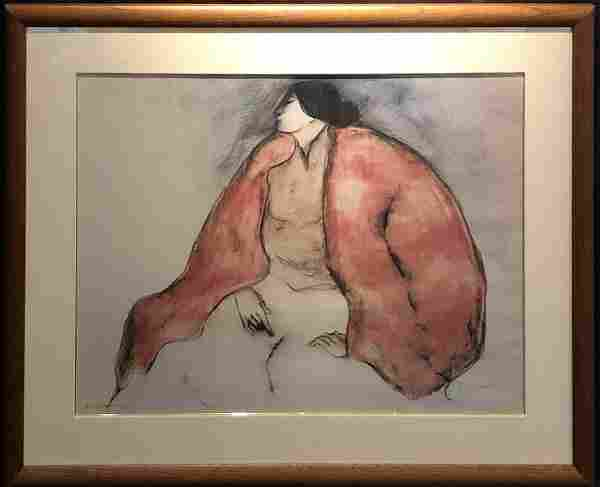 """R.C. Gorman """"Seated Woman"""" Signed Lithograph w/COA"""