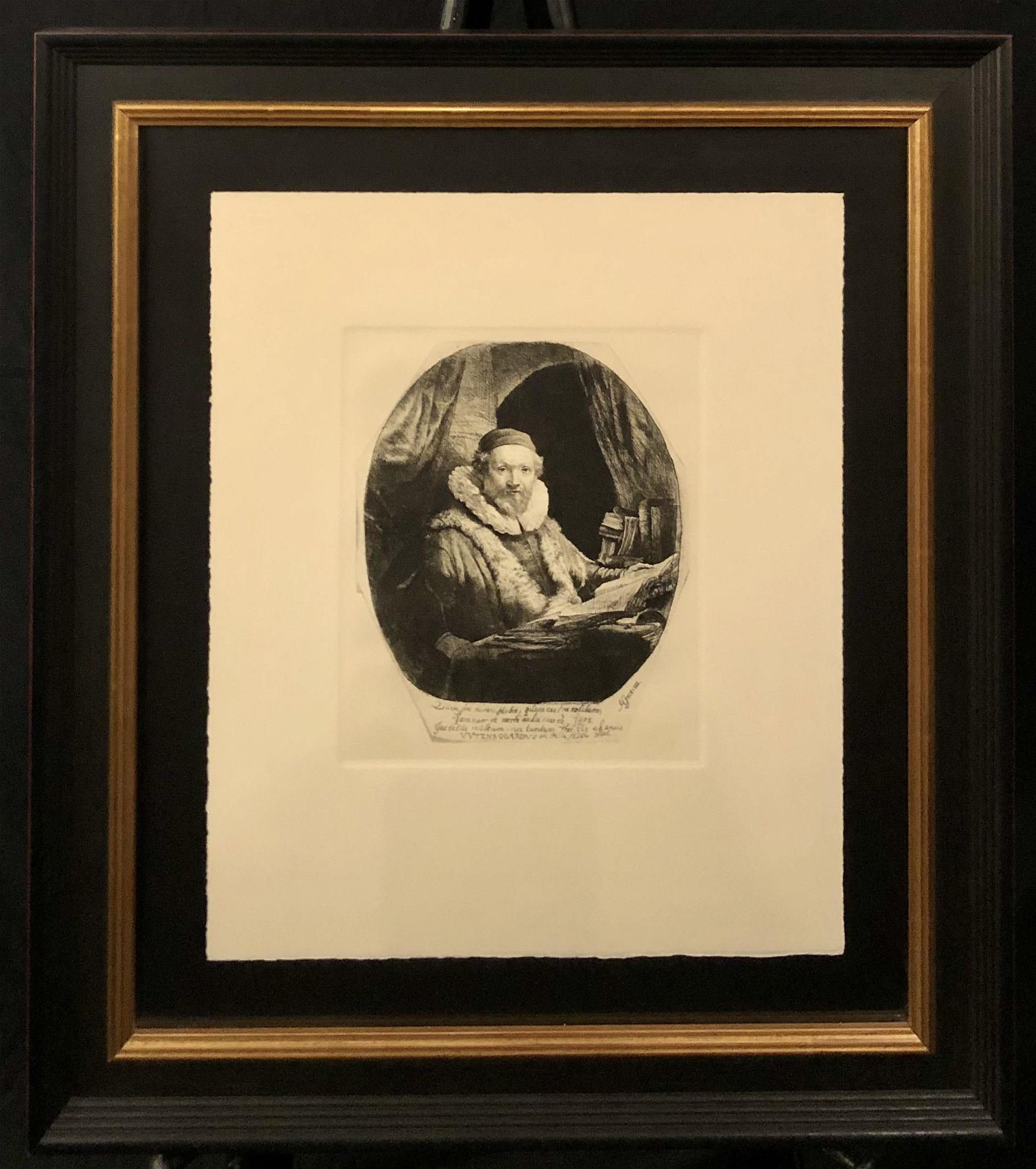 """Rembrandt """"Preacher of the Remonstrants"""" Etching"""