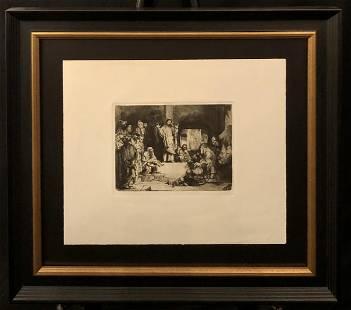 "Rembrandt ""Christ Preaching La Petite Tomb"" Etching"
