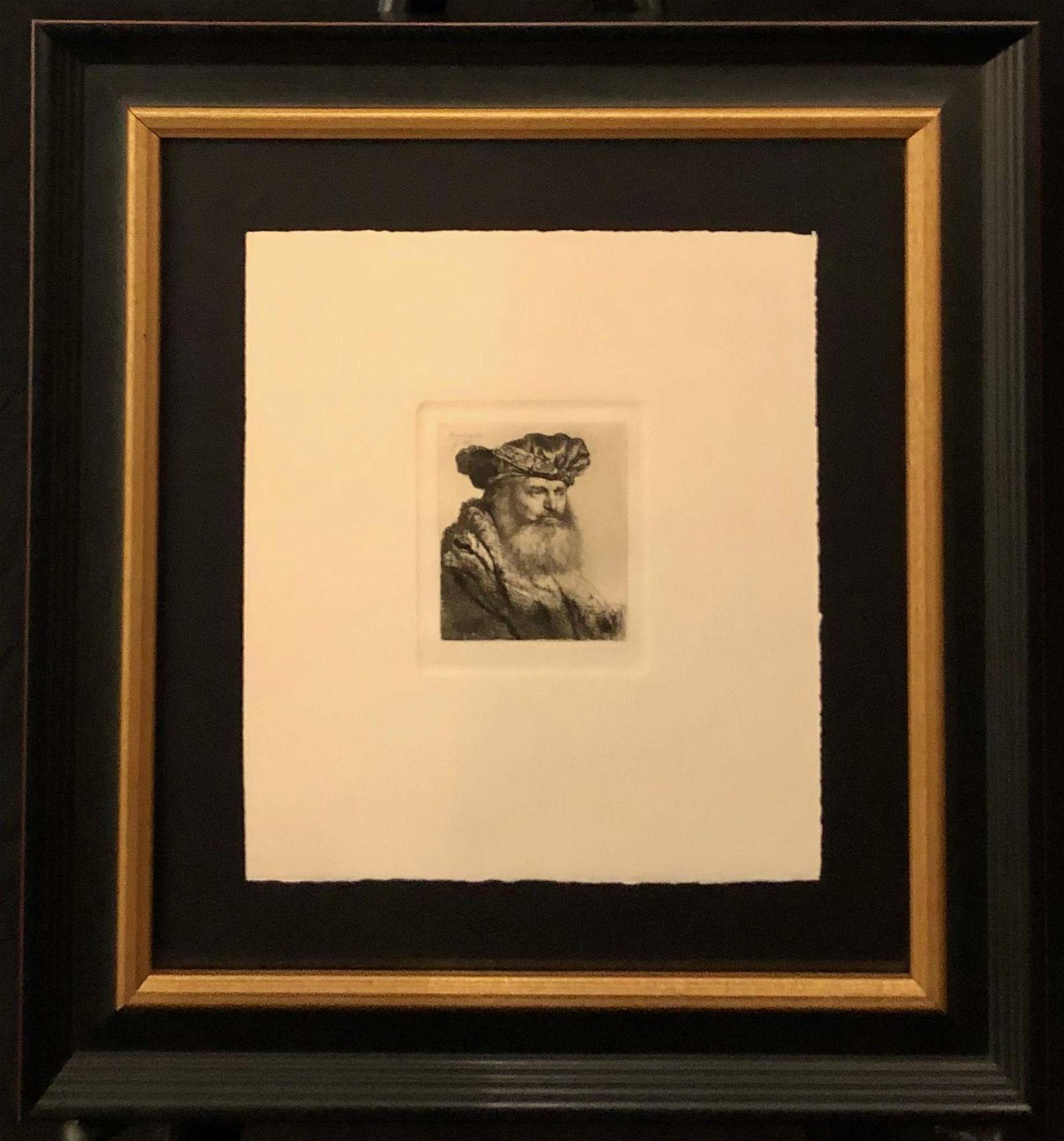 "Rembrandt ""Bearded Man Velvet Cap w/Jeweled Clasp"""