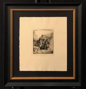 """Rembrandt """"Abraham Parlant a' Isaac"""" Etching"""