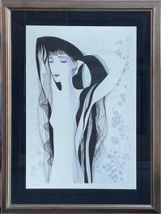 """Eyvind Earle """"Girl With Raven Hair"""" Signed Lithograph"""