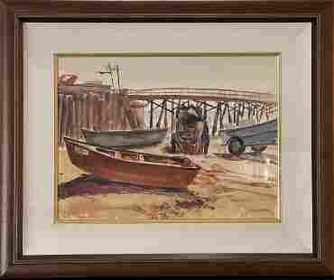"""John Genis """"Newport Pier"""" Signed Original Watercolor"""