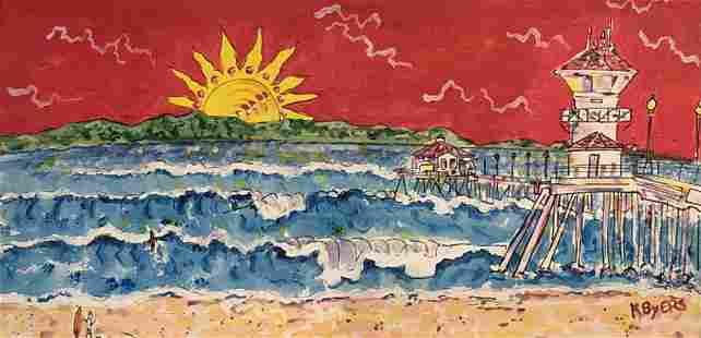 "Kimm Byers ""Huntington Beach Surf"" Original Acrylic on"