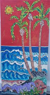 "Kimm Byers ""Surfing Hawaii"" Original Acrylic on Canvas"