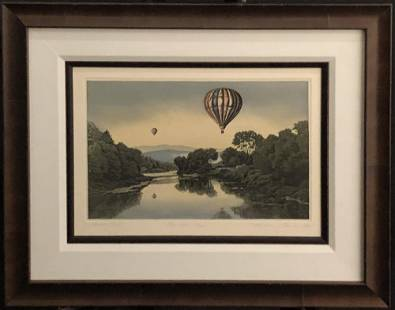 """Kathleen Cantin """"Over The River"""" Signed Etching"""