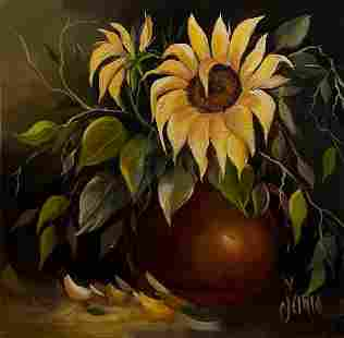"Maria ""Sunflower"" Oil Signed"