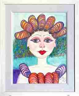 """Penny Johns """"She Sells Sea Shells"""" Watercolor Signed"""
