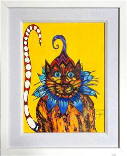 """Penny Johns """"Party Pussey"""" Signed Watercolor"""